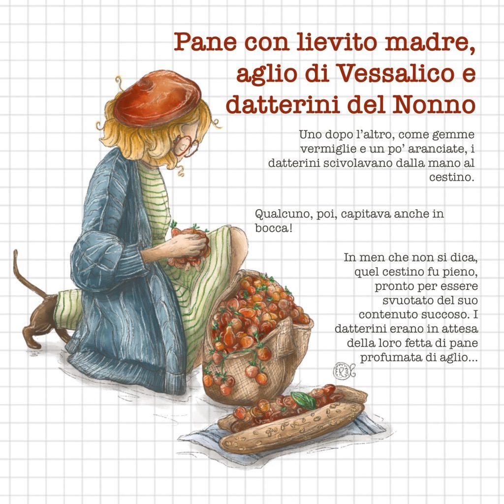 Illustrazione Pomodori datterini aglio Vessalico pane lievito madre