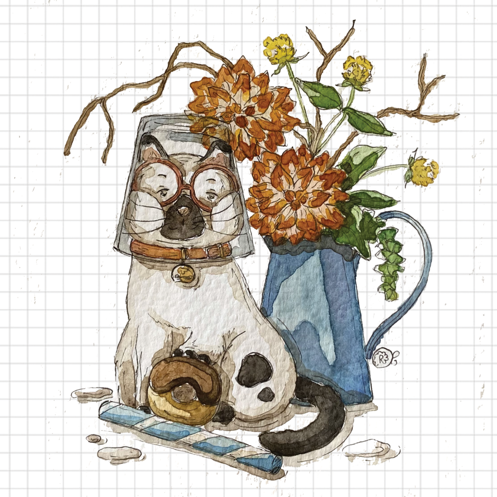 Gatto e latte illustrazione