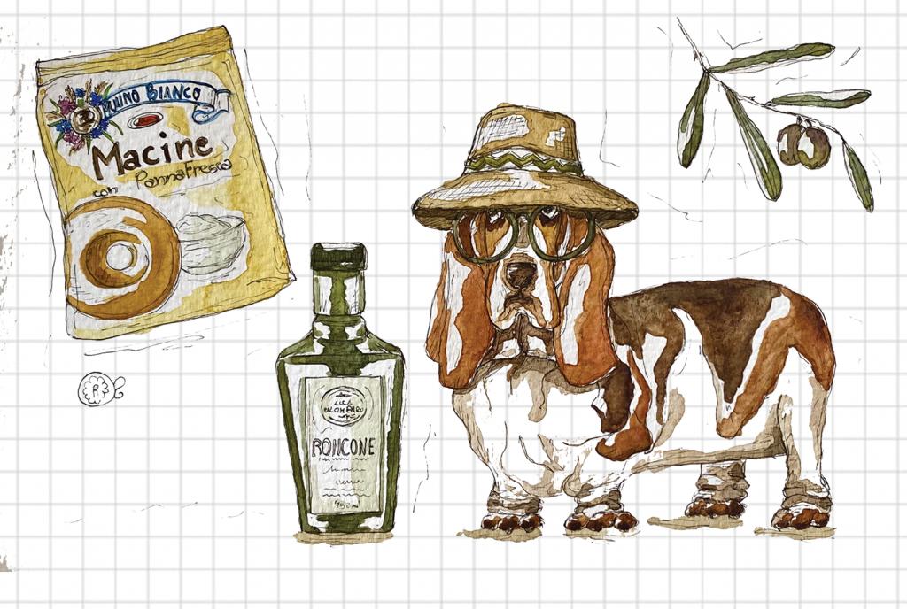Macine Mulino Bianco olio d'oliva cane illustrazione