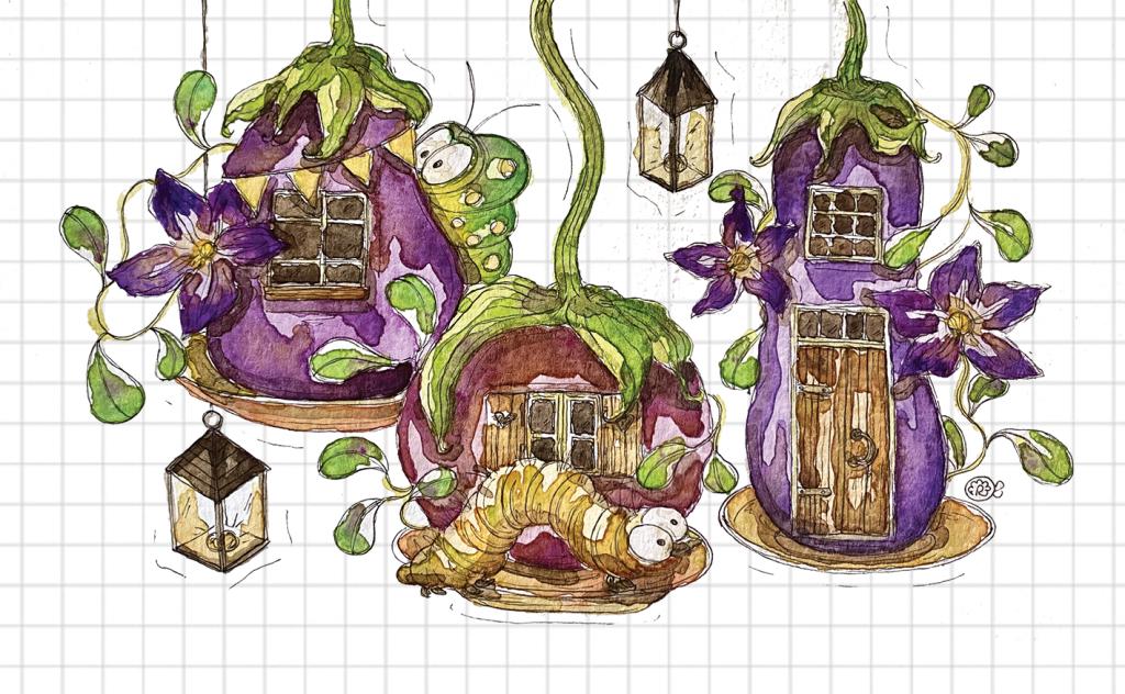 melanzane e bruchi illustrazione