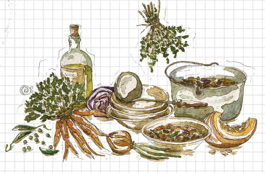 Illustrazione minestra di verdure