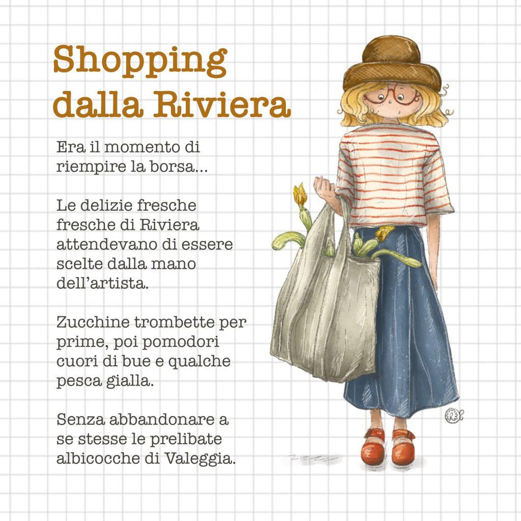 zucchine trombette shopping illustrazione
