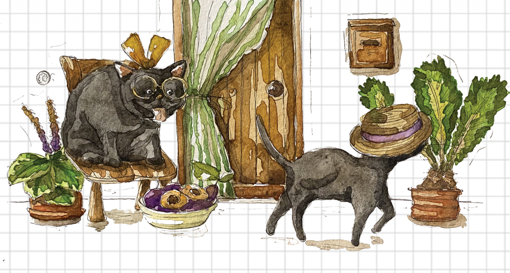 Gatto nero innamorato